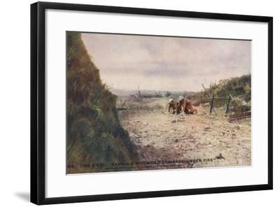The Hero: Saving a Wounded Comrade under Fire, World War I--Framed Photographic Print