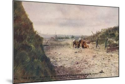 The Hero: Saving a Wounded Comrade under Fire, World War I--Mounted Photographic Print