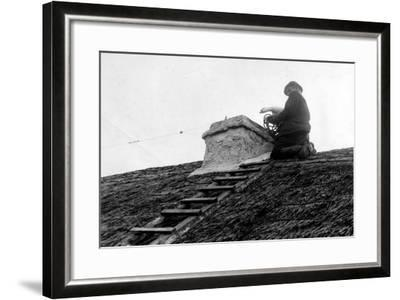 Patrick Kilcourse Pushes the Goose Down the Chimney, Early 20th--Framed Photographic Print