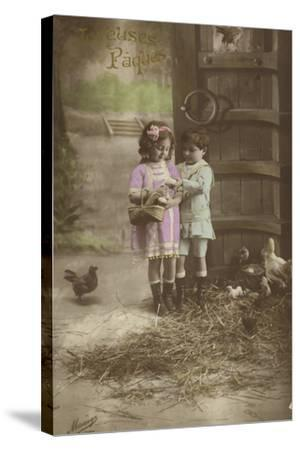 French Easter Card, Showing Children Finding Eggs--Stretched Canvas Print