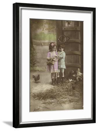 French Easter Card, Showing Children Finding Eggs--Framed Photographic Print
