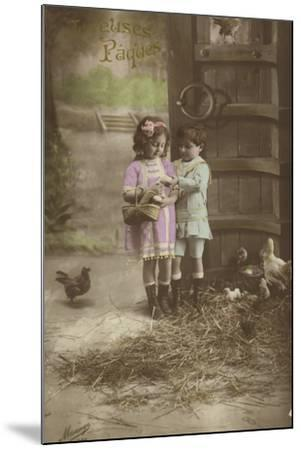 French Easter Card, Showing Children Finding Eggs--Mounted Photographic Print