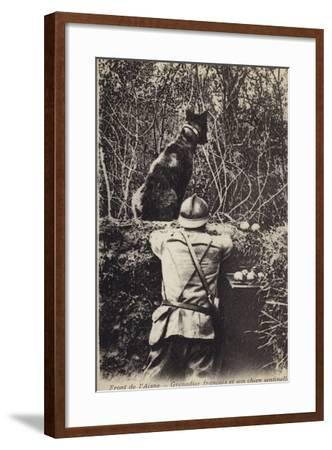 French Grenadier and His Sentry Dog, Aisne Front, France, World War I--Framed Photographic Print