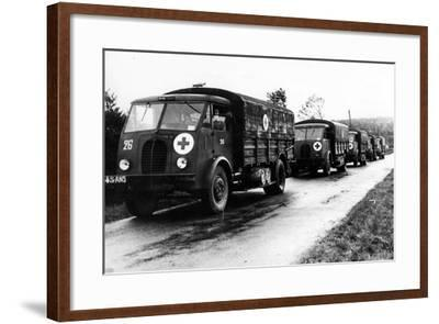 French Red Cross Trucks Carrying Aid for Prisoners of War, C. 1939-45--Framed Photographic Print