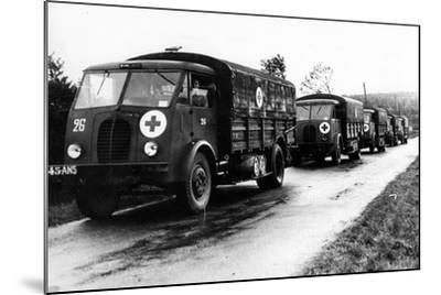 French Red Cross Trucks Carrying Aid for Prisoners of War, C. 1939-45--Mounted Photographic Print