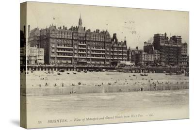 Brighton, View of Metropole and Grand Hotels from West Pier--Stretched Canvas Print