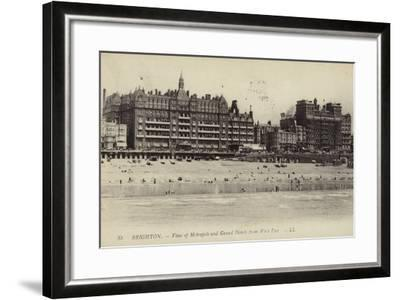Brighton, View of Metropole and Grand Hotels from West Pier--Framed Photographic Print