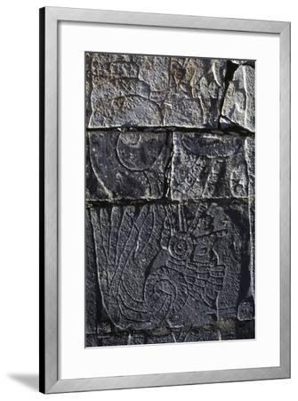 Reliefs, Platform of the Eagles and the Jaguars, Chichen Itza--Framed Photographic Print