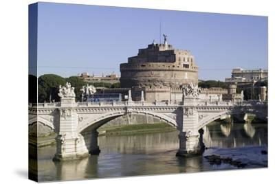 Vittorio Bridge over Tiber with Castel Sant'Angelo in Background, Rome--Stretched Canvas Print