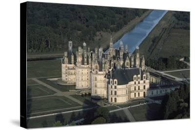 France, Loire Valley, Aerial View of Chateau De Chambord--Stretched Canvas Print