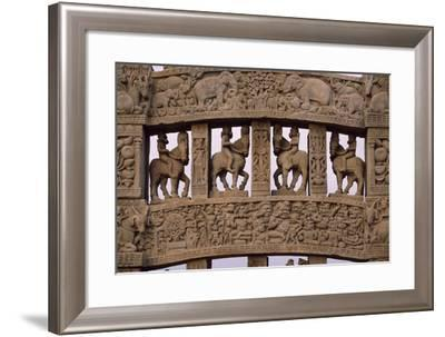 Detail of Reliefs of the North Gate of the Stupa I in Sanchi--Framed Photographic Print
