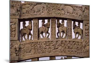 Detail of Reliefs of the North Gate of the Stupa I in Sanchi--Mounted Photographic Print