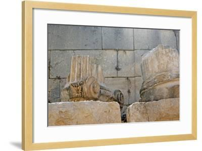 Decorated Capital and Column Base, Patara, Turkey--Framed Photographic Print