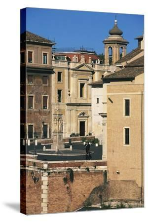 View of Piazza Di St Bartholomew on Island, Tiber Island, Rome--Stretched Canvas Print