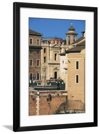 View of Piazza Di St Bartholomew on Island, Tiber Island, Rome--Framed Photographic Print