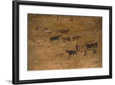 Scene of Daily Life with Livestock, Rock Art, Tassili N'Ajjer--Framed Photographic Print