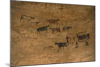 Scene of Daily Life with Livestock, Rock Art, Tassili N'Ajjer--Mounted Photographic Print