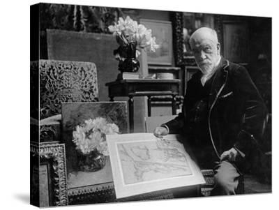 Portrait of Léon Bonnat Holding a Drawing by Bartolomeo Passarotti--Stretched Canvas Print