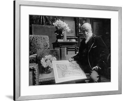 Portrait of Léon Bonnat Holding a Drawing by Bartolomeo Passarotti--Framed Photographic Print
