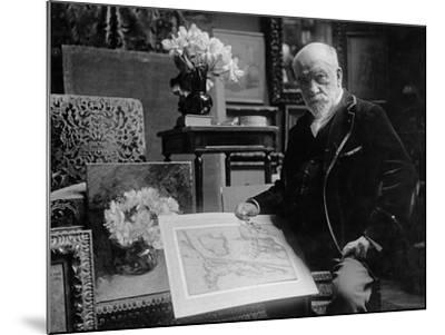 Portrait of Léon Bonnat Holding a Drawing by Bartolomeo Passarotti--Mounted Photographic Print