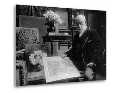 Portrait of Léon Bonnat Holding a Drawing by Bartolomeo Passarotti--Metal Print