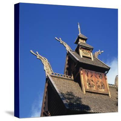 Detail from the Roof of the Gol Stave Church, Built in C.1200--Stretched Canvas Print