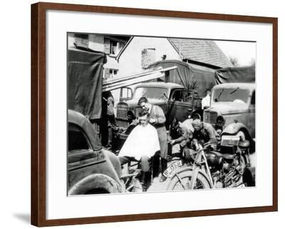 A German Soldier Is Getting a Haircut, France, 1940--Framed Photographic Print