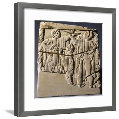 Cinerary Urn with Dancers and Performers, Artifact from Chiusi--Framed Photographic Print