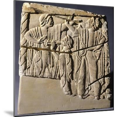 Cinerary Urn with Dancers and Performers, Artifact from Chiusi--Mounted Photographic Print