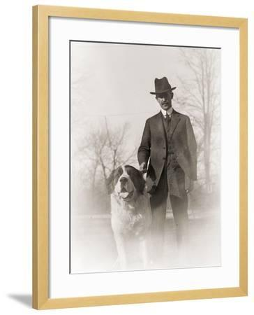 Portrait of Orville Wright and His Dog Scipio, 1917--Framed Photographic Print
