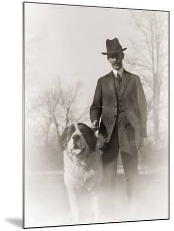 Portrait of Orville Wright and His Dog Scipio, 1917--Mounted Photographic Print