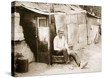 Shack Made of Barrels and Tar Paper, on the River Shore at St. Louis--Stretched Canvas Print