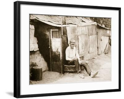 Shack Made of Barrels and Tar Paper, on the River Shore at St. Louis--Framed Photographic Print