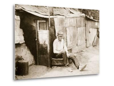 Shack Made of Barrels and Tar Paper, on the River Shore at St. Louis--Metal Print