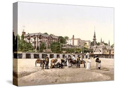 Riding Donkeys on the Beach at Heringsdorf, Germany, Pub. C.1895--Stretched Canvas Print