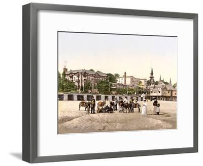 Riding Donkeys on the Beach at Heringsdorf, Germany, Pub. C.1895--Framed Photographic Print