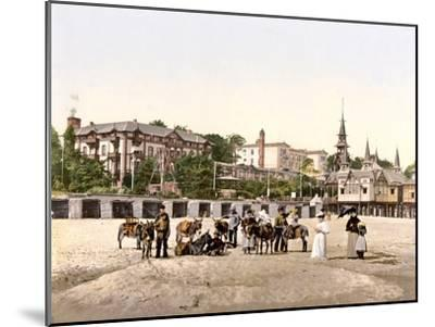 Riding Donkeys on the Beach at Heringsdorf, Germany, Pub. C.1895--Mounted Photographic Print