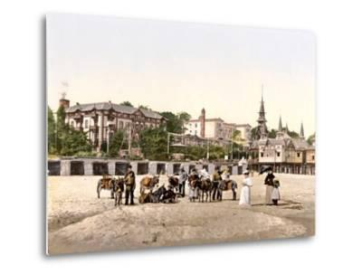 Riding Donkeys on the Beach at Heringsdorf, Germany, Pub. C.1895--Metal Print