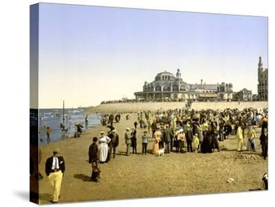 The Beach at Ostend with the Kursaal in the Background, Pub. C.1895--Stretched Canvas Print