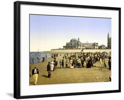 The Beach at Ostend with the Kursaal in the Background, Pub. C.1895--Framed Photographic Print