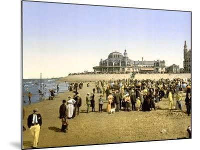 The Beach at Ostend with the Kursaal in the Background, Pub. C.1895--Mounted Photographic Print