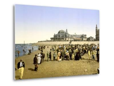 The Beach at Ostend with the Kursaal in the Background, Pub. C.1895--Metal Print