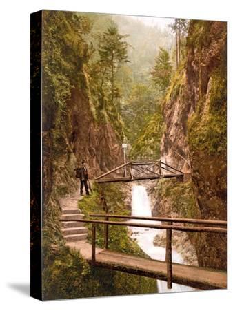Path and Bridge in the Almbach Gorge in Berchtesgaden, Bavaria, 1890-1900--Stretched Canvas Print