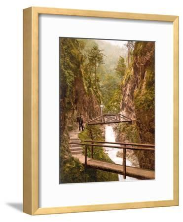 Path and Bridge in the Almbach Gorge in Berchtesgaden, Bavaria, 1890-1900--Framed Photographic Print
