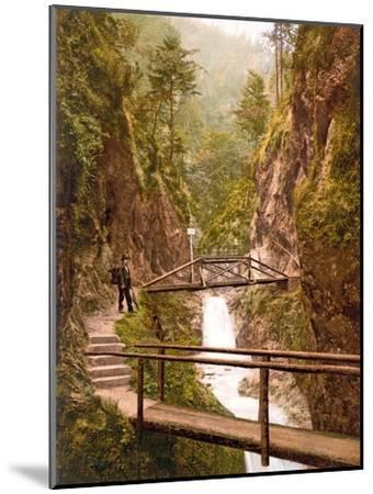 Path and Bridge in the Almbach Gorge in Berchtesgaden, Bavaria, 1890-1900--Mounted Photographic Print