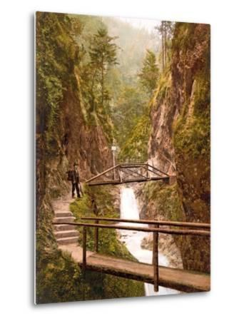 Path and Bridge in the Almbach Gorge in Berchtesgaden, Bavaria, 1890-1900--Metal Print