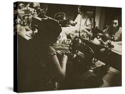 Female Workers at a Negligee Factory in Midtown Manhattan, New York--Stretched Canvas Print