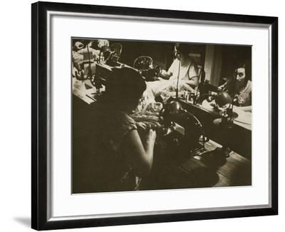 Female Workers at a Negligee Factory in Midtown Manhattan, New York--Framed Photographic Print