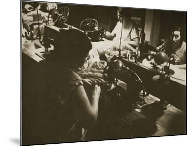 Female Workers at a Negligee Factory in Midtown Manhattan, New York--Mounted Photographic Print