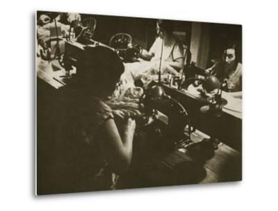 Female Workers at a Negligee Factory in Midtown Manhattan, New York--Metal Print